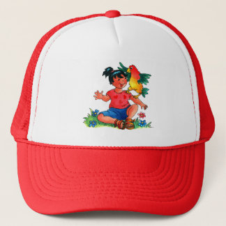 Girl with Parrot Cartoon Hat