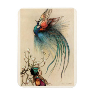 Girl with Peacock vintage painting Magnet