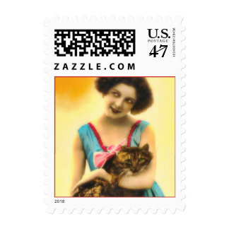 Girl with Pet Cat Postage