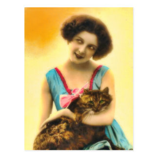 Girl with Pet Cat Postcard