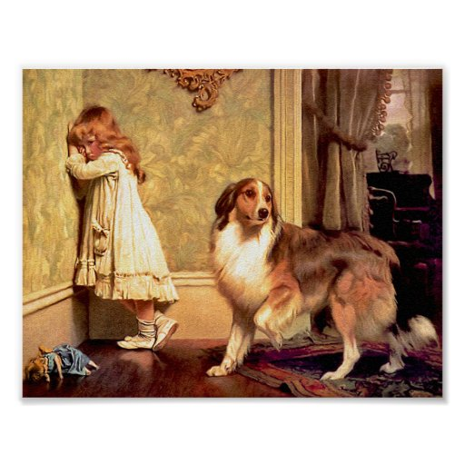 """Girl with Pet Sheltie: """"A Special Pleader"""" Print"""