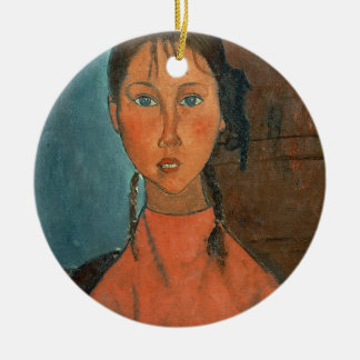 Girl with Pigtails, c.1918 (oil on canvas) Ceramic Ornament
