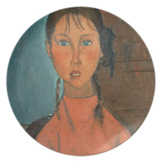 Girl with Pigtails, c.1918 (oil on canvas) Dinner Plate