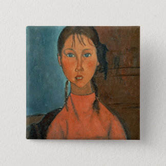 Girl with Pigtails, c.1918 (oil on canvas) Pinback Button