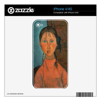 Girl with Pigtails, c.1918 (oil on canvas) Skin For iPhone 4S