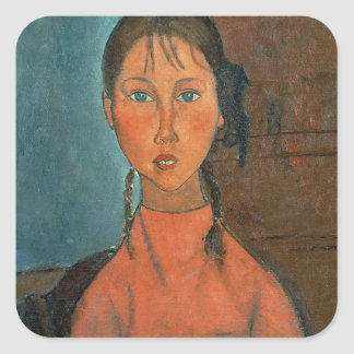 Girl with Pigtails, c.1918 (oil on canvas) Square Sticker