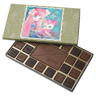 Girl With Pink Hair in Kimono With Kawaii Cat Assorted Chocolates