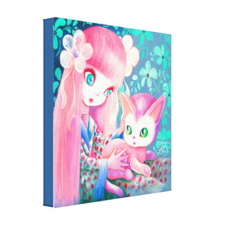 Girl With Pink Hair in Kimono With Kawaii Cat Canvas Print