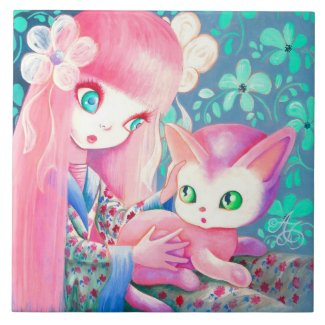 Girl With Pink Hair in Kimono With Kawaii Cat Ceramic Tile