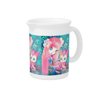Girl With Pink Hair in Kimono With Kawaii Cat Drink Pitcher