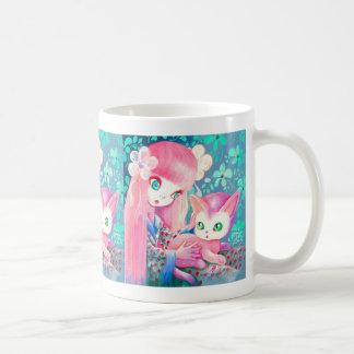 Girl With Pink Hair in Kimono With Kawaii Cat Classic White Coffee Mug