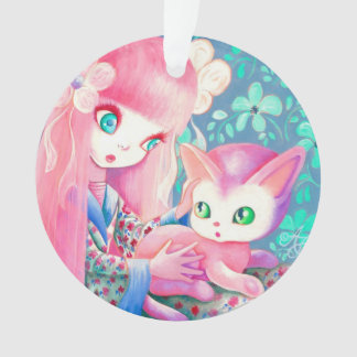 Girl With Pink Hair in Kimono With Kawaii Cat Ornament