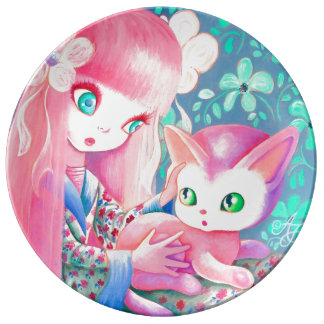 Girl With Pink Hair in Kimono With Kawaii Cat Porcelain Plate