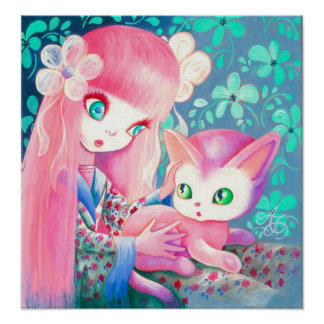 Girl With Pink Hair in Kimono With Kawaii Cat Posters