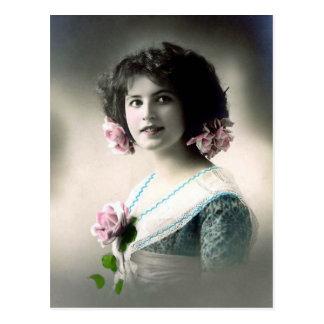 """Girl with Pink Roses"" Vintage Postcard"