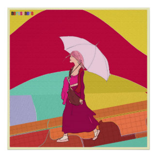 Girl with pink umbrella print