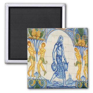 Girl with pitchers 2 inch square magnet