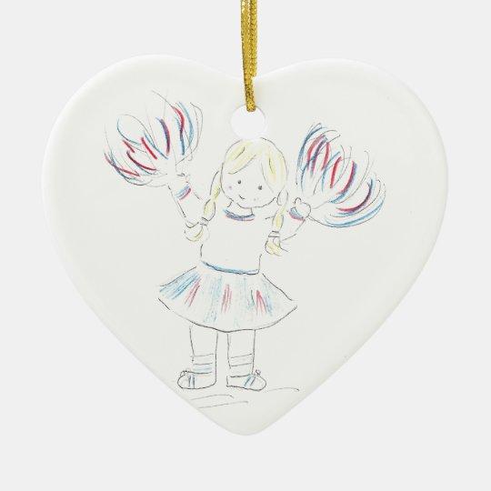 Girl with Pom Poms Ceramic Ornament
