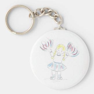 Girl with Pom Poms Keychain