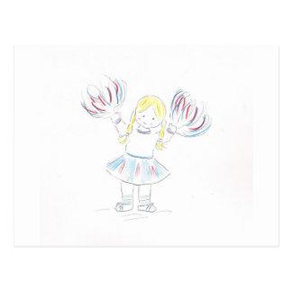 Girl with Pom Poms Postcard