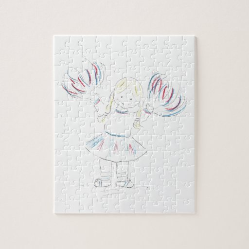 Girl with Pom Poms Puzzles