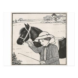 Girl With Pony Postcard