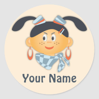 Girl with ponytails classic round sticker
