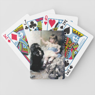 Girl with Poodle Dog Pet painting Bicycle Playing Cards
