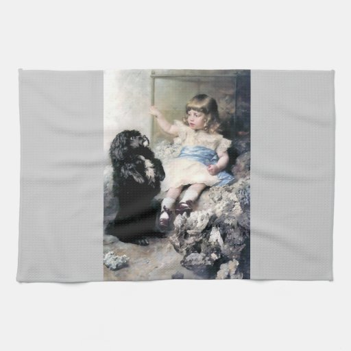 Girl with Poodle Dog Pet painting Kitchen Towel