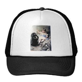 Girl with Poodle Dog Pet painting Mesh Hat