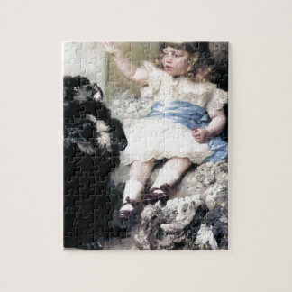 Girl with Poodle Dog Pet painting Puzzles