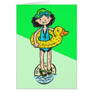 Girl with Pool Toy Card