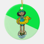 Girl with Pool Toy Christmas Tree Ornament