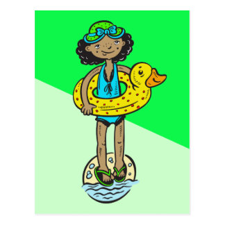 Girl with Pool Toy Postcard