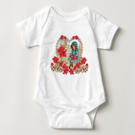 Girl with Poppies Baby Bodysuit