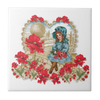 Girl with Poppies Tile