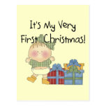 Girl with Presents 1st Christmas Tshirts and Gifts Post Card