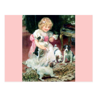 Girl with Puppie Pets having tea party Postcard