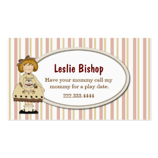 Girl with Puppy Striped Play Date Card Business Card