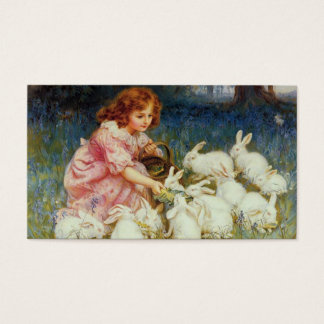 Girl with rabbits business card