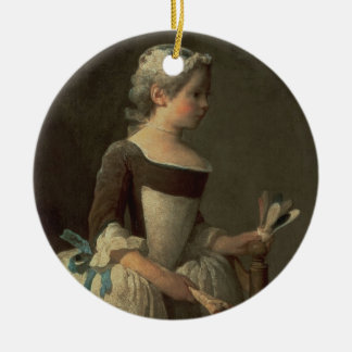 Girl with Racket and Shuttlecock Ceramic Ornament