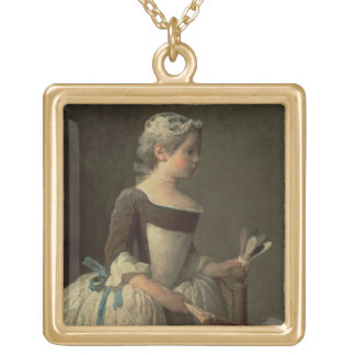 Girl with Racket and Shuttlecock Gold Plated Necklace