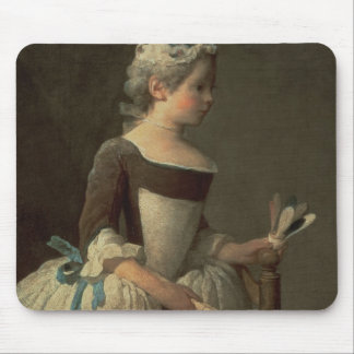 Girl with Racket and Shuttlecock Mouse Pad