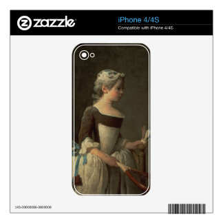 Girl with Racket and Shuttlecock Skin For The iPhone 4