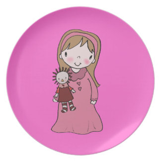 Girl with Rag Doll Dinner Plates