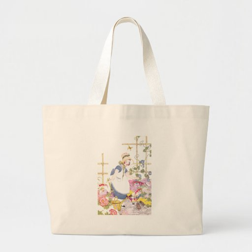 Girl with Rake and Watering Can in Flower Garden Canvas Bags