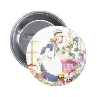 Girl with Rake and Watering Can in Flower Garden Pins