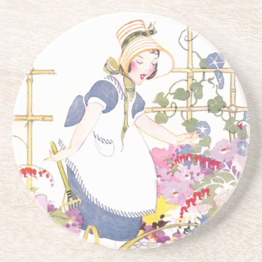 Girl with Rake and Watering Can in Flower Garden Coaster