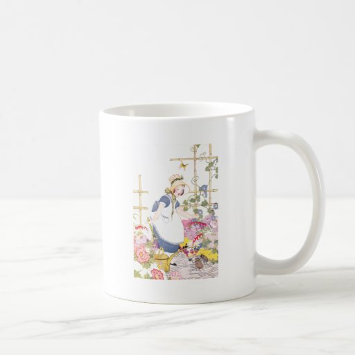Girl with Rake and Watering Can in Flower Garden Mug