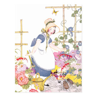 Girl with Rake and Watering Can in Flower Garden Postcard